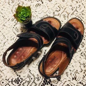 Josef Seibel Black Leather Sandal. Size 39